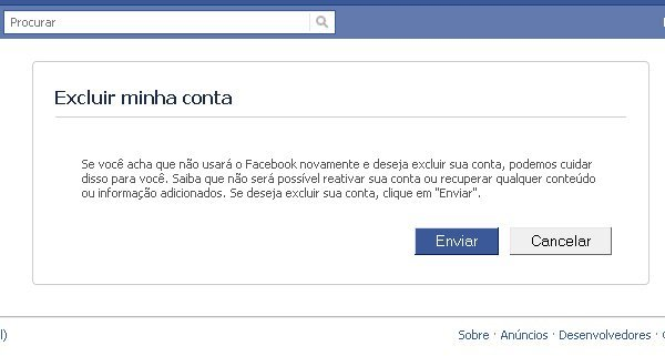 Excluir conta do facebook definitivamente
